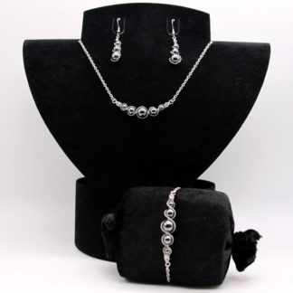 Parure : boucles d'oreilles / bracelet / collier Perles de Hématite.
