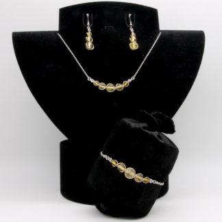 Parure : boucles d'oreilles / bracelet / collier Perles de Citrine.