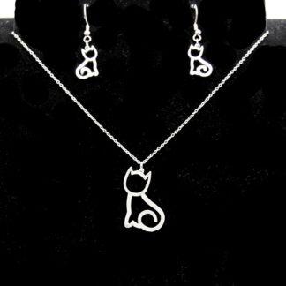 Parure pendentif et boules d'oreilles petit chat sur chaîne Inoxydable.