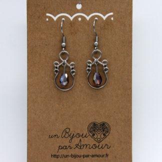 Boucles d'oreilles baroque perle cristal de bohème.