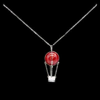 Pendentif montgolfière perle d'agate rouge