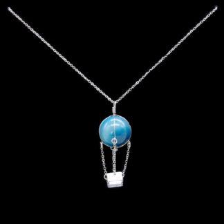 Pendentif montgolfière perle d'agate bleue
