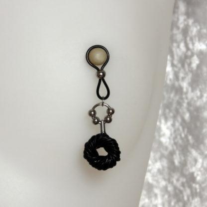 Bijoux pour seins sans piercing, Donut Cuire noir et anneau 4 perles