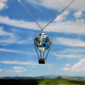 Pendentif montgolfière perle en résine 20mm Bleue