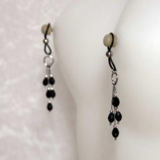 Bijoux pour seins sans piercing, Grande grappe goutte perle de Bohème noire
