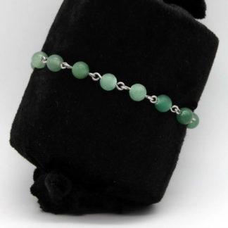 Bracelet chaine perlée en Aventurine verte et acier inoxydable