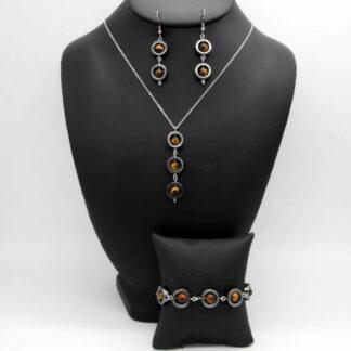 Parure Collier, Bracelet, Boucles d'Oreilles perlé perles donut Hématite et perles Œil du tigre.