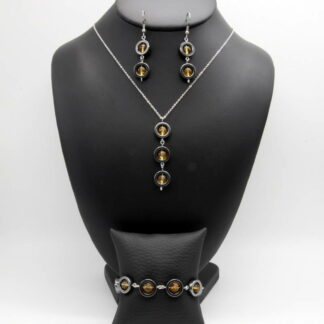 Parure Collier, Bracelet, Boucles d'Oreilles perlé perles donut Hématite et perles Citrine.