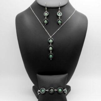 Parure Collier, Bracelet, Boucles d'Oreilles perlé perles donut Hématite et perles Aventurine.