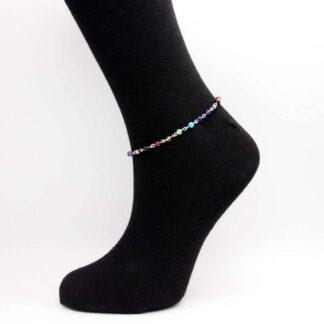 Bracelet de cheville chaîne perlée de perle pierre fine 7 chakras.